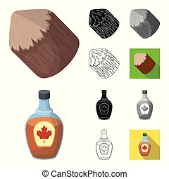Country Canada cartoon, black, flat, monochrome, outline icons in set collection for design. Canada and landmark vector symbol stock web illustration.