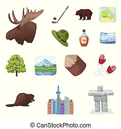 Country Canada cartoon icons in set collection for design. Canada and landmark vector symbol stock web illustration.