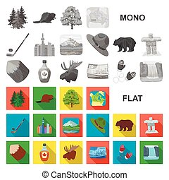 Country Canada flat icons in set collection for design. Canada and landmark vector symbol stock web illustration.