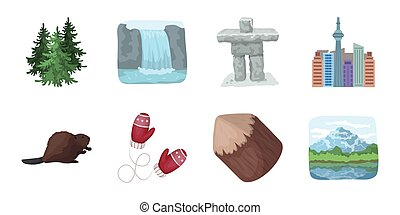 Country Canada icons in set collection for design. Canada and landmark vector symbol stock web illustration.
