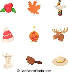 Country Canada icons set, cartoon style