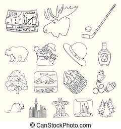 Country Canada outline icons in set collection for design. Canada and landmark vector symbol stock web illustration.
