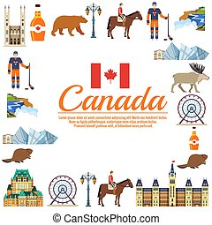 Country Canada travel vacation guide of goods, places and features. Set of architecture, fashion, people, items, nature background concept. Infographic template design