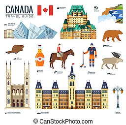 Country Canada travel vacation guide of goods, places and features. Set of architecture, fashion, people, items, nature background concept. Infographic template design for web and mobile on flat style.