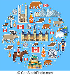 Country Canada travel vacation places and features circle. Set of architecture, fashion, people, items, nature background concept. Infographic template design on sticker flat style