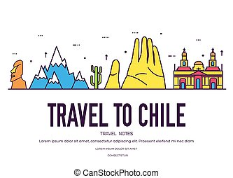 Country Chile thin line guide of goods, places and features. Set of outline architecture, fashion, people, items, nature background concept. Infographic template design for web and mobile
