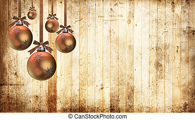 Country Christmas - Christmas ornaments on a country wood...