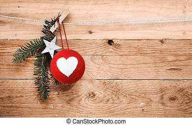 Country Christmas Ornaments On A Wood Background