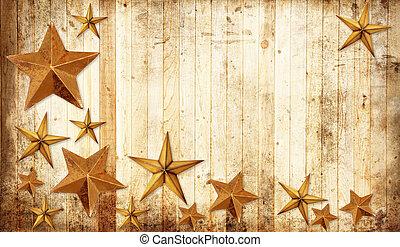 Country Christmas stars - Christmas stars on a weathered...