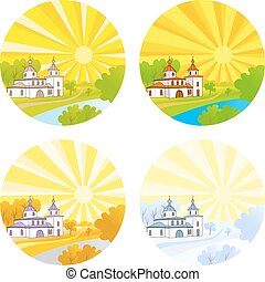 Country church with steeple happy kids running-Transparency