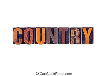 Country Concept Isolated Letterpress Type