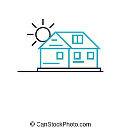 Country cottage area linear icon concept. Country cottage area line vector sign, symbol, illustration.