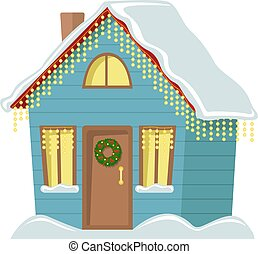 Country cottage decorated with Christmas garland. Flat vector illustration. Christmas house