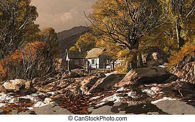 Country Cottage In A Fall Scene