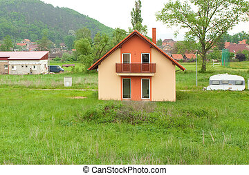 country cottage in a landscape of nature