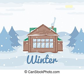 Country cottage in winter, wooden house in forest, snowy landscape spruce trees, winter outdoor view, countryside nature illustration
