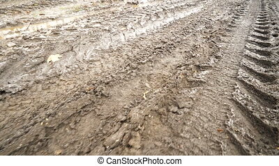 Country dirt road with muddy puddles in spring. Movement...