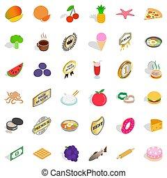 Country dish icons set, isometric style