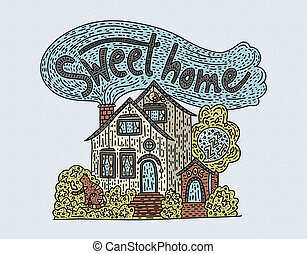 Country doodle detailed cottage with hand drawn lettering - sweet home.