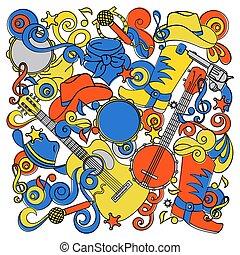 COUNTRY DOODLES Western Music Festival Vector Illustration Set