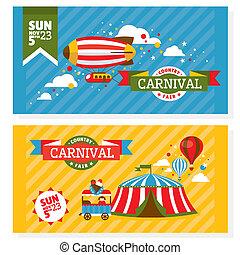 Country fair vintage invitation cards vector illustration