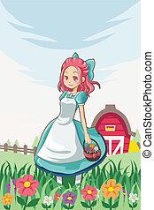 Country farm girl - A vector illustration of a country farm...