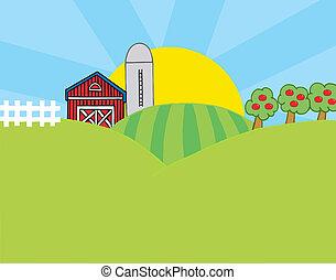 Country Farm Scene - The Sun Rising Behind A Silo, Barn,...