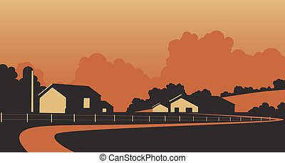 Country farmstead - Vector illustration of a rural farm in...