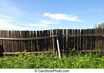 Country fence and blue sky