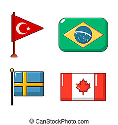 Country flag icon set, cartoon style