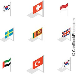 Country flag icon set, isometric style