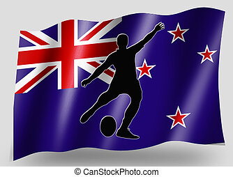 Country Flag Sport Icon Silhouette NZ Rugby Kicker
