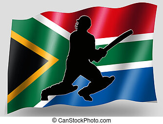Country Flag Sport Icon Silhouette South Africa Cricket...