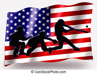 Country Flag Sport Icon Silhouette USA Baseball Receiving