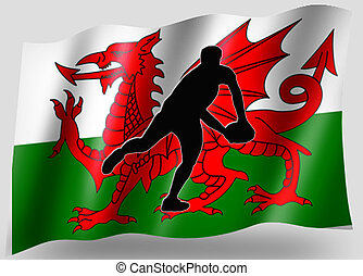 Country Flag Sport Icon Silhouette Welsh Rugby Pass -...
