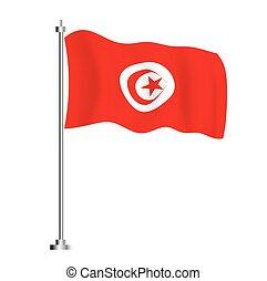 country., flag., túnez, onda, bandera, tunecino, aislado