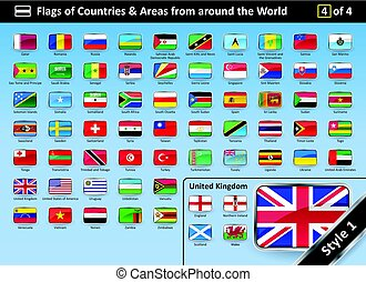 Country Flags and Areas from around the World STYLE 1