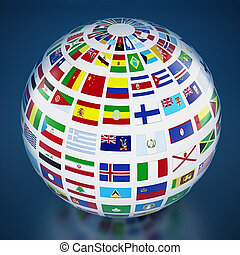 Country flags around the globe on blue background. 3D illustration