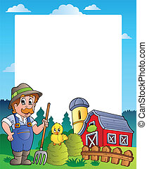 Country frame with red barn 2 - vector illustration.