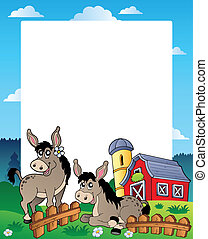 Country frame with red barn 5 - vector illustration.
