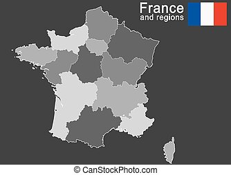 silhouettes of european country France and new regions