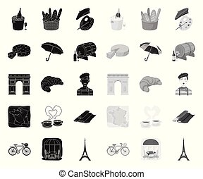 Country France black. mono icons in set collection for design. France and landmark vector symbol stock web illustration.