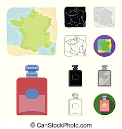 Country France cartoon, black, flat, monochrome, outline icons in set collection for design. France and landmark vector symbol stock web illustration.