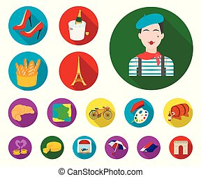 Country France flat icons in set collection for design. France and landmark vector symbol stock web illustration.