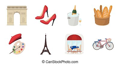 Country France icons in set collection for design. France and landmark vector symbol stock web illustration.