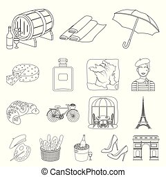 Country France outline icons in set collection for design. France and landmark vector symbol stock web illustration.