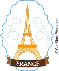 Country France set label template of emblem element for your product or design, web and mobile applications with text. Vector illustration with thin lines isolated icons on stamp symbol.