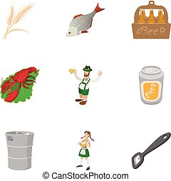 Country Germany icons set, cartoon style