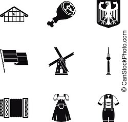 Country Germany icons set, simple style
