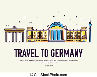 Country Germany travel vacation of place and feature. Set of...